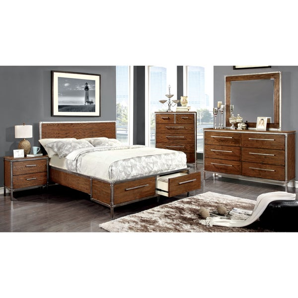 Furniture of america anye 4 piece industrial style dark for Bedroom ideas oak bed