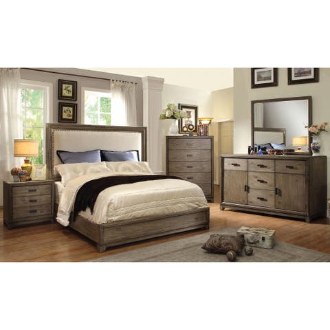 Furniture of America Arian Rustic 4-Piece Natural Ash Bedroom Set