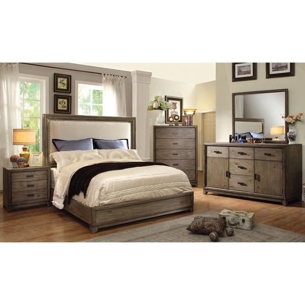 Furniture of america arian rustic 4 piece natural ash for Rustic bedroom furniture