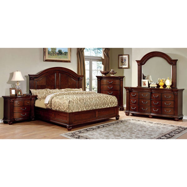 furniture of america vayne i 4 piece traditional cherry bedroom set