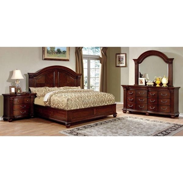 Vayne I Traditional Warm Cherry 4 Piece Bedroom Set By Foa