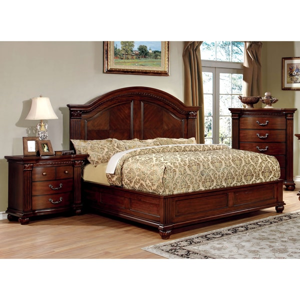 Furniture of america vayne i 3 piece traditional cherry for Traditional bedroom furniture