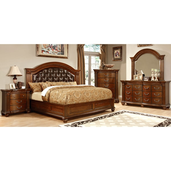 Furniture of America Vayne II 4-Piece Traditional Cherry Bedroom Set