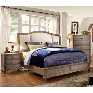 Furniture of America Minka II Rustic Grey 2-Piece Bed with Nightstand Set