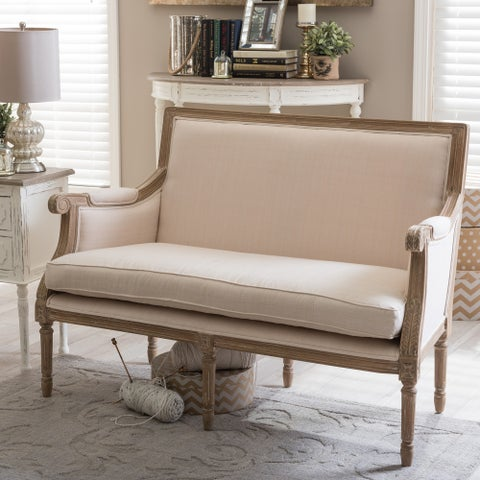 Chavanon Wood And Cotton Traditional French Loveseat