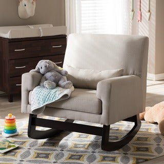 Baxton Studio Imperium Modern Beige Rocking Chair with Pillow