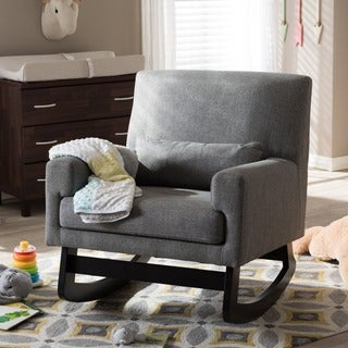 Baxton Studio Imperium Wood and Grey Fabric Contemporary Rocking Chair with Pillow