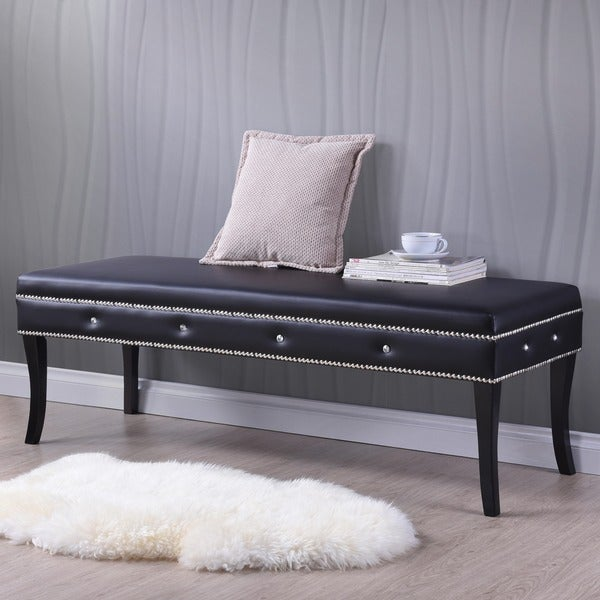 Tavignano Wood And Leather Contemporary Bench in Black