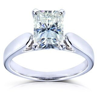 Annello by Kobelli 14k White Gold 1 1/5ct Radiant-cut Near Colorless Moissanite (FG) Solitaire 4-prong Engagement Ring