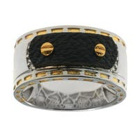 Michael Valitutti Gold over Silver Men's White Zircon Leather Detail Ring