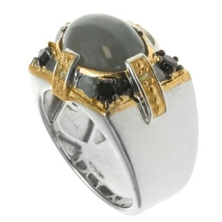 Michael Valitutti Palladium Silver Men's Green Cat's Eye Quartz Black Spinel Ring