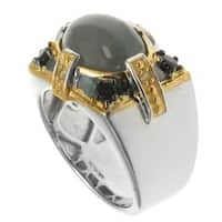 Michael Valitutti Palladium Silver Men's Green Cat's Eye Quartz Black Spinel Ring