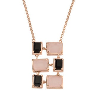 Oro Rosa 18k Rose Gold Over Bronze Rose Quartz and Black Onyx Drop Necklace (20 or 36 inch)