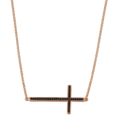 Oro Rosa 18k Rose Gold Over Bronze Cross with Black Cubic Zirconia Sideways Necklace (18 inch)