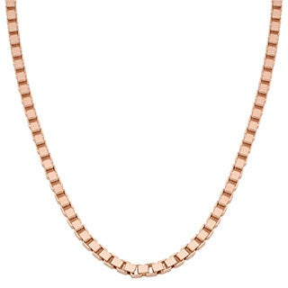Oro Rosa 18k Rose Gold Over Bronze Italian High Polish Box Statement Necklace (16, 24 or 36 inch)