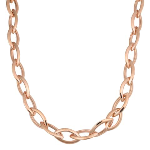 Oro Rosa 18k Rose Gold Over Bronze Italian High Polish Marquise Link Necklace (18 or 36 inch)
