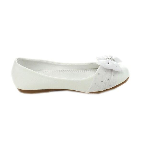 Girls Flats w// Chiffon Bow Youth Flower Girl White Dress Shoes Coca