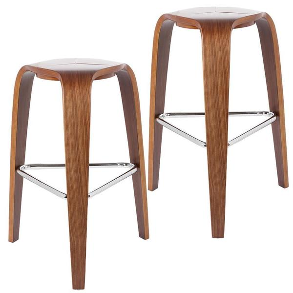 Mars Bent 26 Inch Walnut Wood Counter Stool Set Of 2