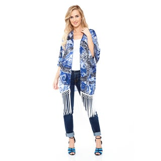 White Mark Women's White & Blue Fringe Kimono