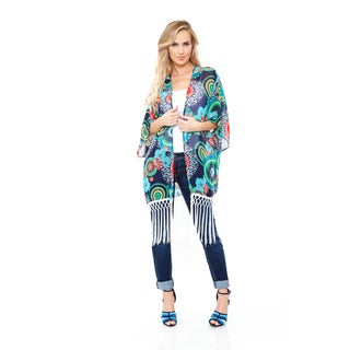 White Mark Women's Navy/ Green Fringe Kimono