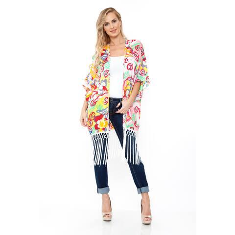 White Mark Women's Pink/ Yellow Print Fringe Kimono