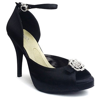 Angela Nuran Starletta Black Silk Wedding Shoes