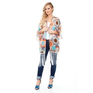 White Mark Women's Beige/ Orange Fringe Kimono