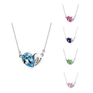 Princess Ice Platinum-plated 'Love' Engraved Crystal Heart Pendant|https://ak1.ostkcdn.com/images/products/9984642/P17135835.jpg?impolicy=medium