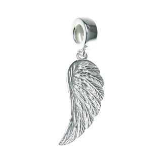 Queenberry Sterling Silver Angel Wing Dangle European Bead Charm