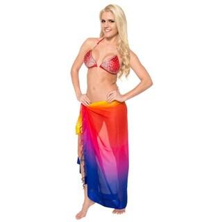 La Leela Sheer Lightweight Chiffon Jacquard Swimsuit Sarong Wrap 72X42 Inch Pink