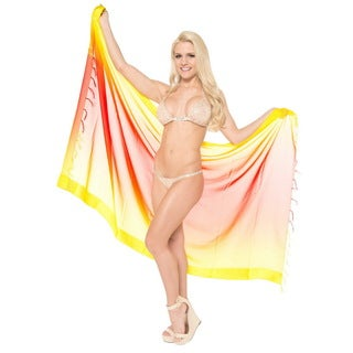 La Leela Red Yellow Jacquard Border Beach Wrap Swim Hawaiian Sarong Cover up