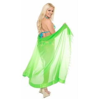 La Leela Super Lightweight Sheer Chiffon Gradient Bikini Sarong 72X42 Inch Green