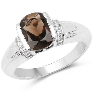 Olivia Leone 2.03 Carat Smoky Quartz and White Topaz .925 Sterling Silver Ring