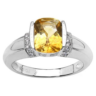 Malaika 1.72 Carat Genuine Citrine and White Topaz .925 Sterling Silver Ring