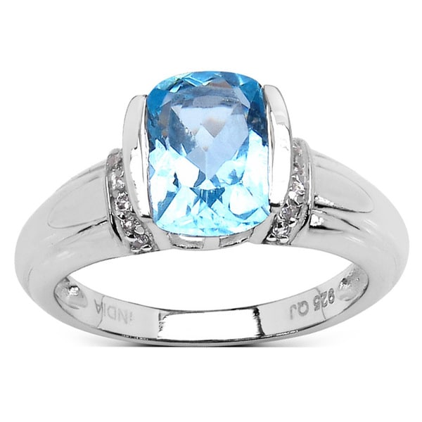 Olivia Leone 2.08 Carat Blue Topaz and White Topaz .925 Sterling Silver Ring
