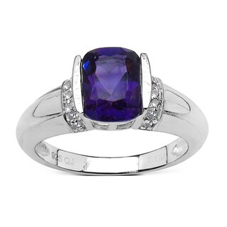 Olivia Leone 1.87 Carat Amethyst and White Topaz .925 Sterling Silver Ring