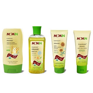 MOMiN® Greenicare® Organic Baby Wash & Shampoo, Lotion, Oil & Skin Cream Bundle