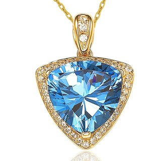 Suzy Levian 18k Gold over Sterling Silver Cubic Zirconia Trillion Necklace