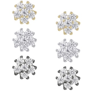 Dolce Giavonna Sterling Silver Cubic Zirconia 3-pair Stud Earring Set