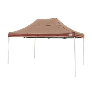 "Shelterlogic 10' W x 15' L x 6'3"" H Straight Leg Pop-up Canopy, American Pride Desert Bronze Cover and Roller Bag / 22554"