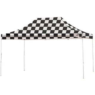 Shelterlogic 10' W x 15' L Straight Leg Pop-up Canopy, American Pride Checkered Flag Cover and Roller Bag / 22555