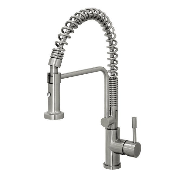 Geyser Stainless Steel Commercial-Style Coiled Spring Kitchen Pull-Down Faucet