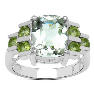 Olivia Leone 3.40 Carat Green Amethyst and Peridot Ring in Sterling Silver