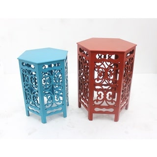 Red and Blue Accent Tables (Set of 2)