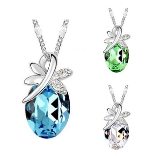 Princess Ice Platinum-plated Oval Austrian Crystal Pendant