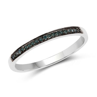 Malaika Sterling Silver 1/10ct TDW Blue Diamond Ring
