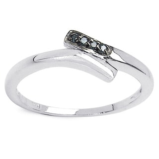 Malaika 0.03 Carat Genuine Blue Diamond .925 Sterling Silver Ring