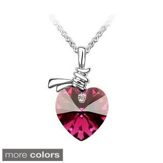 Princess Ice Platinum Plated Heart In A Knot Crystal Pendant (5 options available)