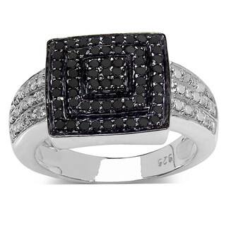 Malaika Sterling Silver 1/2ct TDW Black and White Diamond Square Ring
