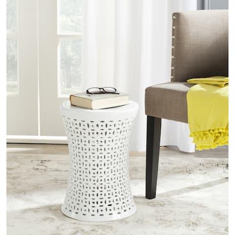 SAFAVIEH Camilla White Ceramic Decorative Garden Stool
